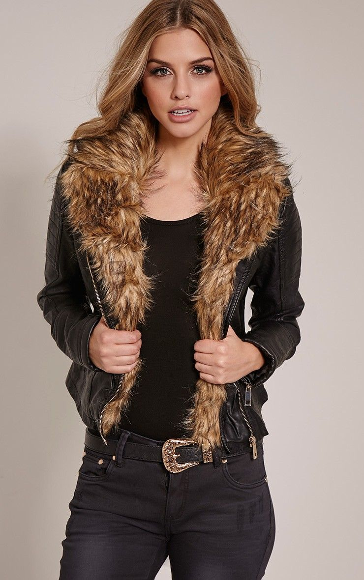 Lorra Black Faux Fur Collar Faux Leather Biker Jacket Image 2 | my ...