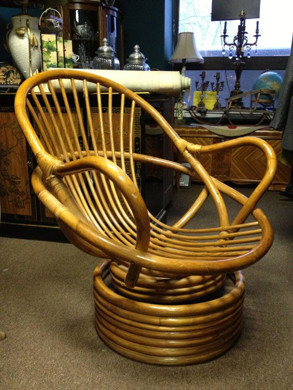 Mid Century Modern Rattan Wicker Bent Wood Swivel