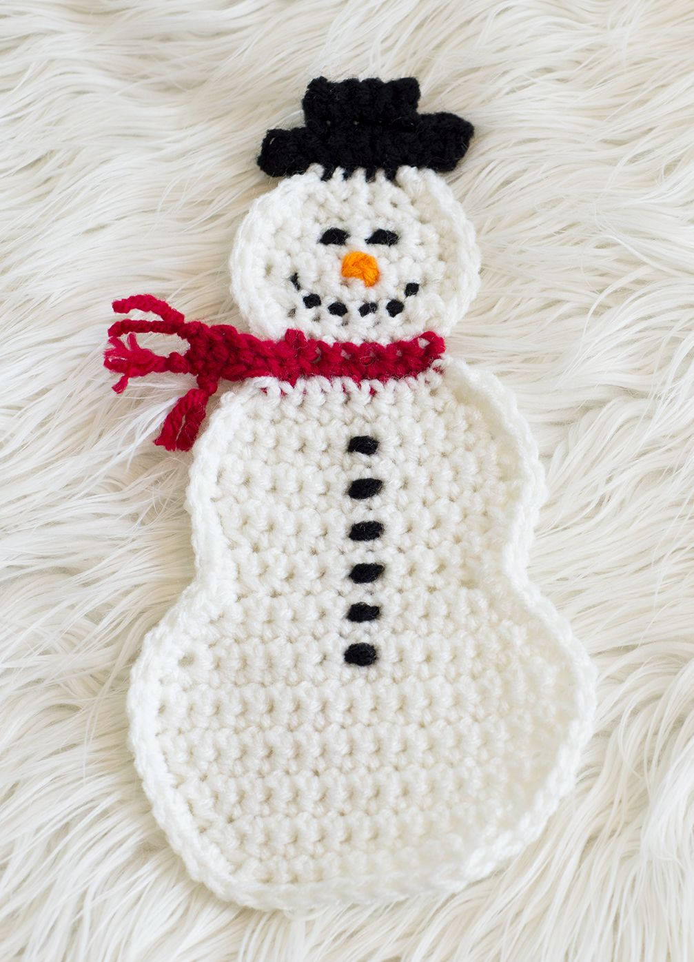Snowman Pot Holder Free Pattern Knit Crochet Crochet 6