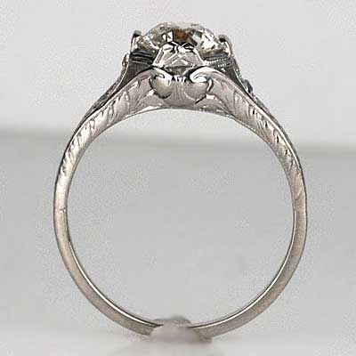 Close up side view of Art Deco Circa 1920s Engagement Ring