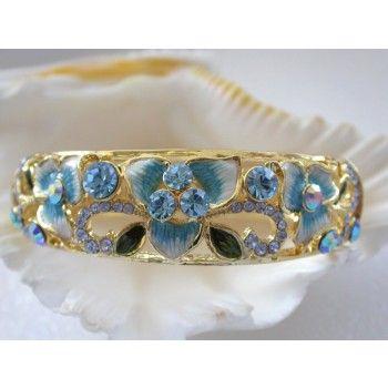 stunning classic beautiful blue crystal flower bracelet 14K gold $17.99