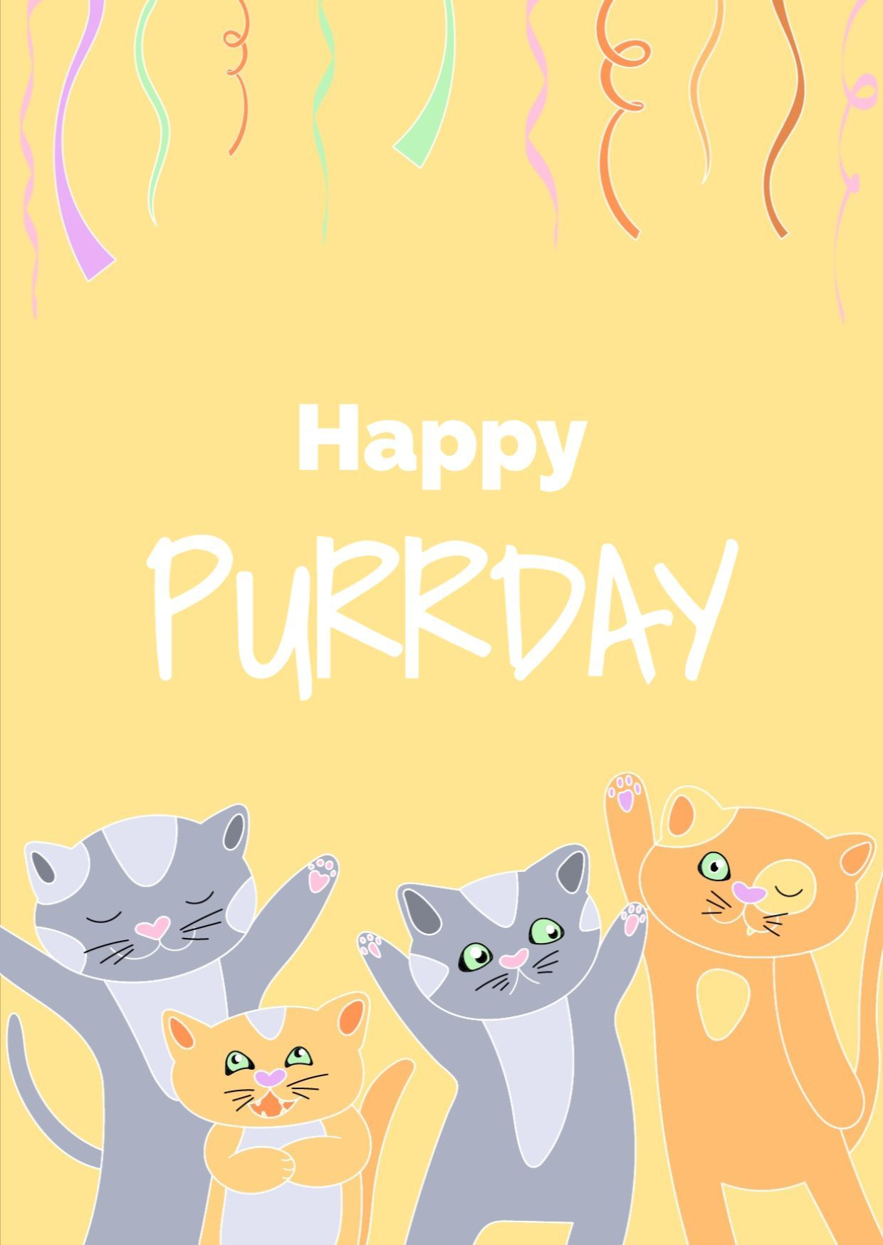 A Funny And Happy Greeting Card Template For A Birthday Design Features Hand Drawn Ca Cat Birthday Greetings Cat Birthday Greeting Card Birthday Card Template