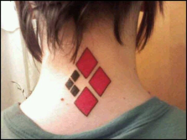 Black And Red Haley Quinn Symbol Tattoo On Nape Tattoos