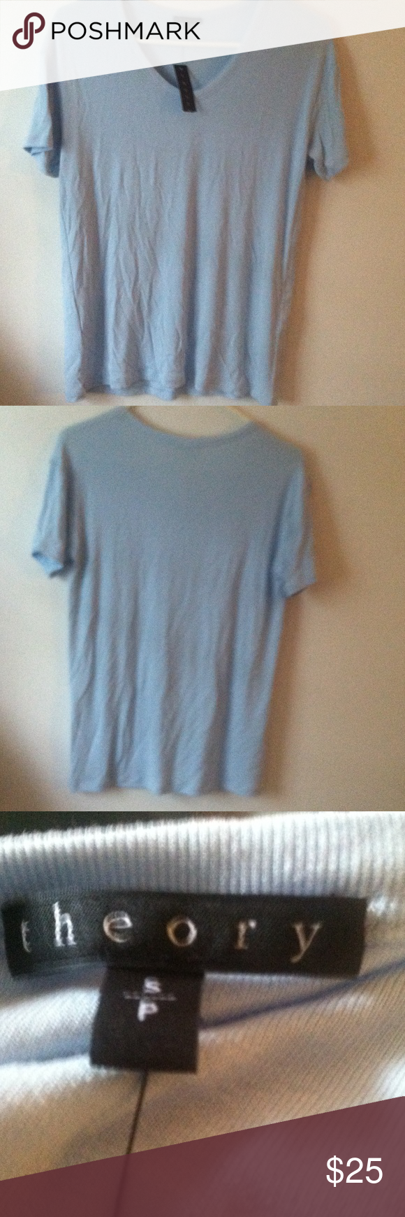 Theory T-shirt Bluffton ribbed viscose t-shirt. Faded blue,size small, NWT(tag is not completely intact), v-neck, short sleeve Theory Shirts Tees - Short Sleeve