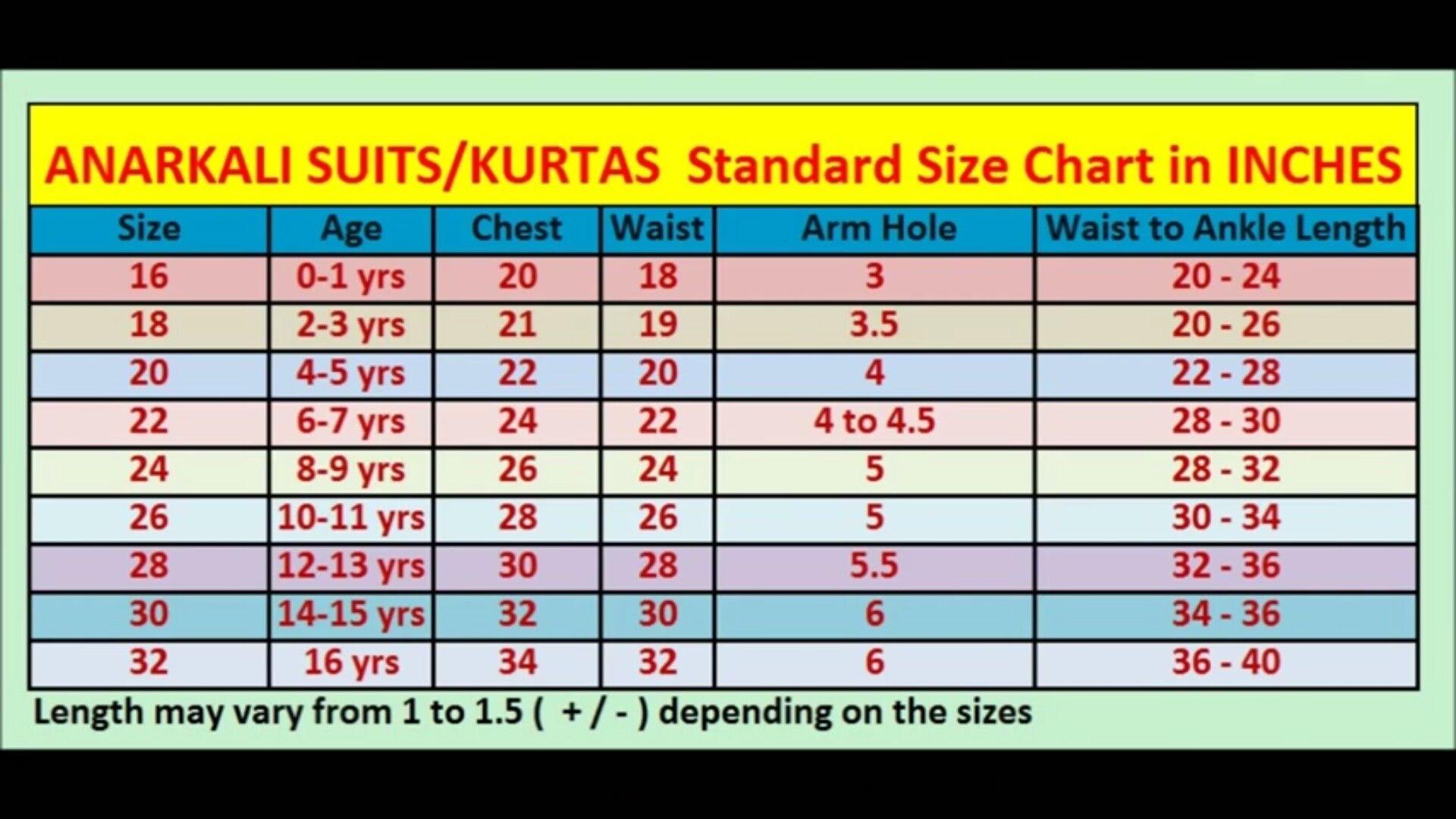 Anarkali Suit Standart Size Charts