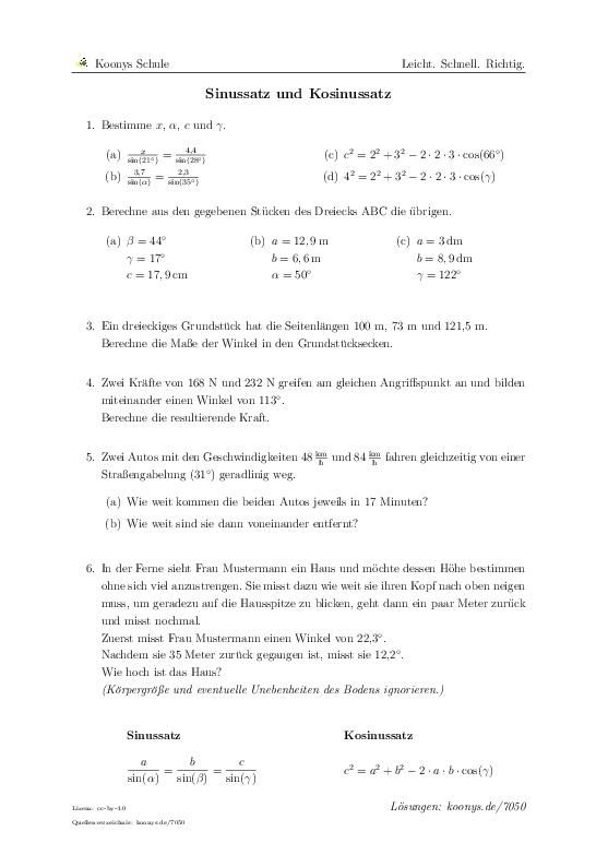 Sinussatz Und Kosinussatz 7050 Trigonometrie Mathe Abitur Tagliches Mathematik
