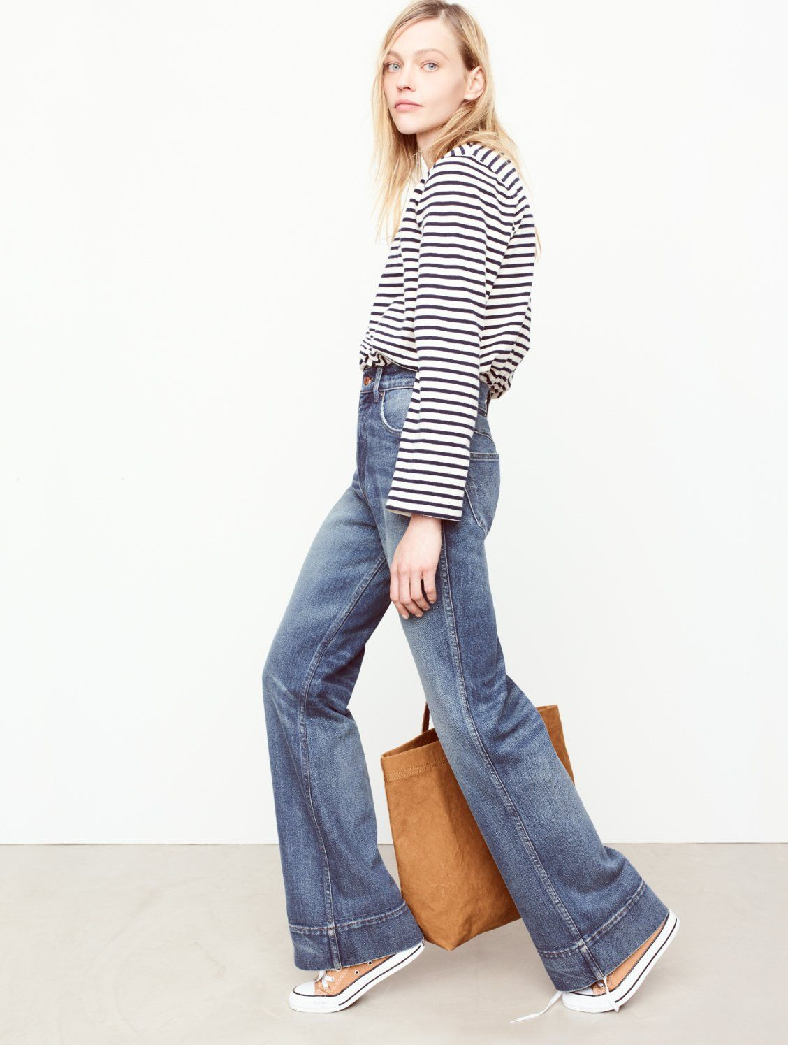 84808fda535 madewell rivet   thread retro wide-leg jeans worn with the rivet   thread  belle-sleeve tee + canvas transport tote.