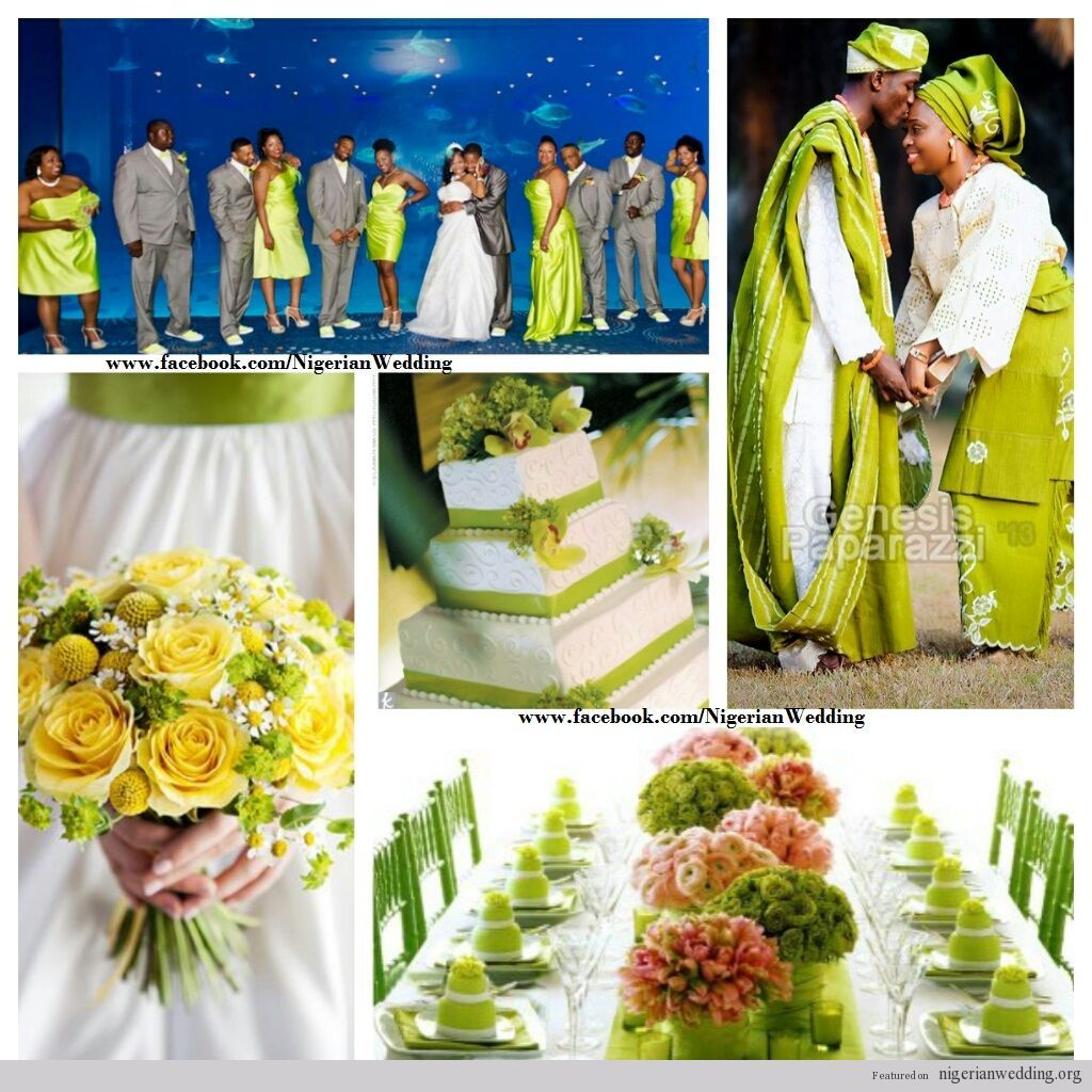 Image result for green white and yellow nigerian bride