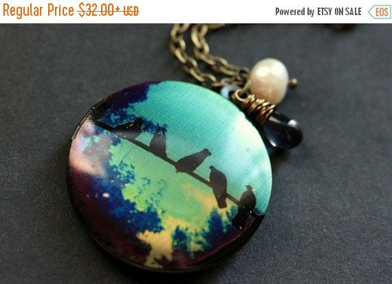 HOLIDAY SALE Turquoise and Blue Bird Necklace. Bird Locket Necklace. Bronze Locket with Dark Blue Teardrop and Pearl. Bronze Necklace. Handm