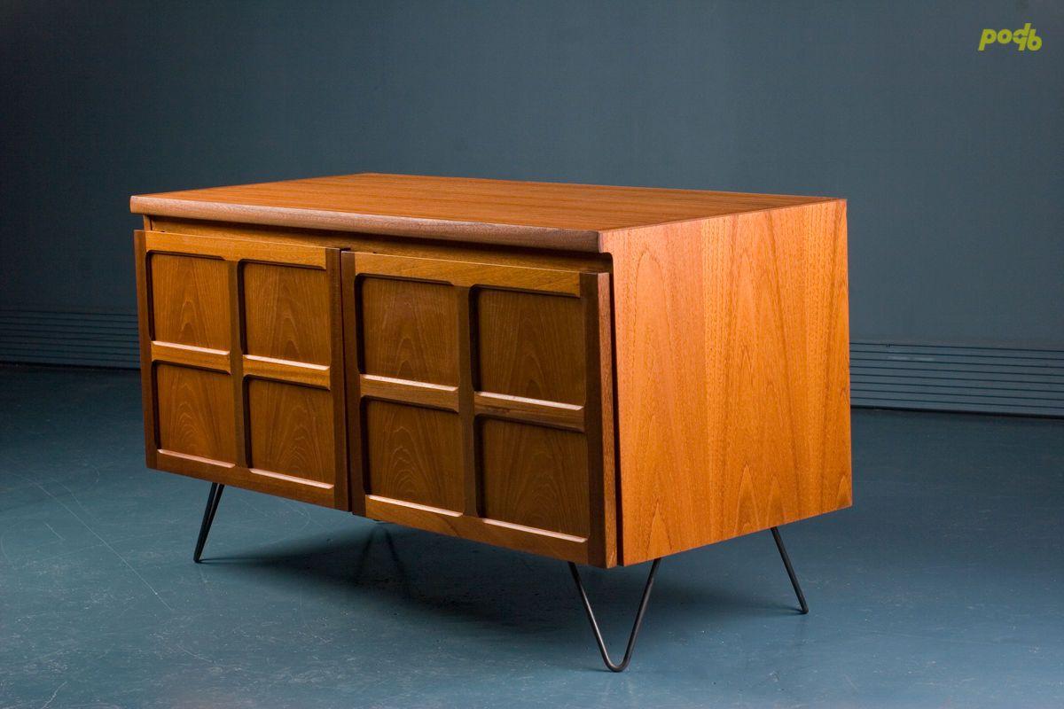 Nathan Mid Century Retro Teak Small Sideboard Tv Record Cabinet 1970s Small Sideboard Teak Sideboard Vintage Sideboard