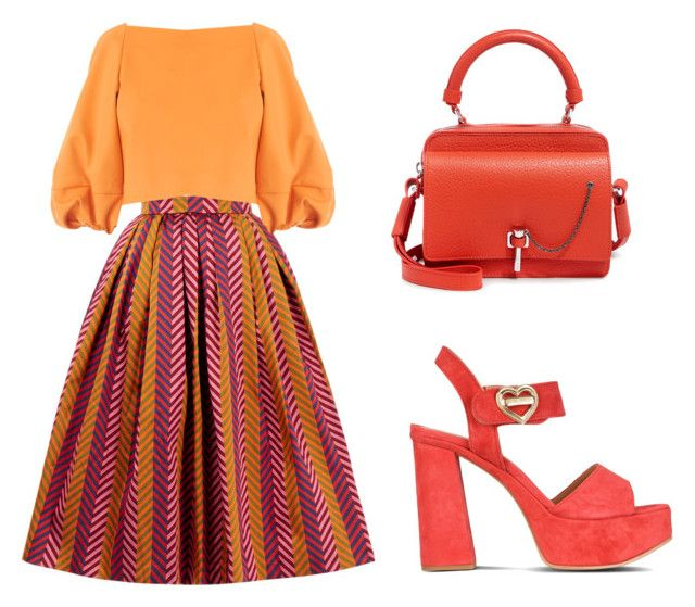 """Orange"" by tania-alves ❤ liked on Polyvore featuring House of Holland, TIBI, Love Moschino and Carven"