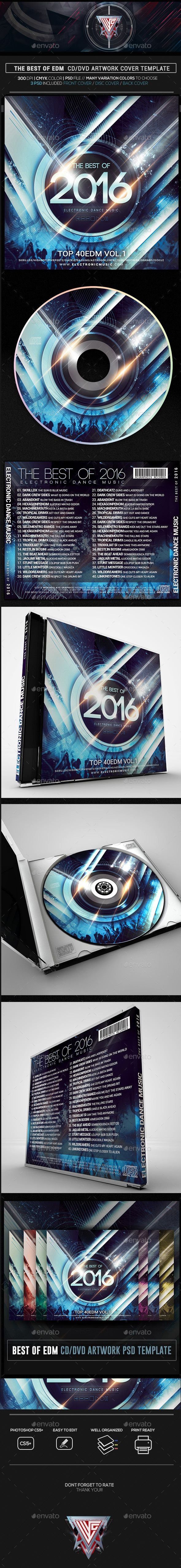 the best of edm 2016 cd dvd template psd cd dvd cover