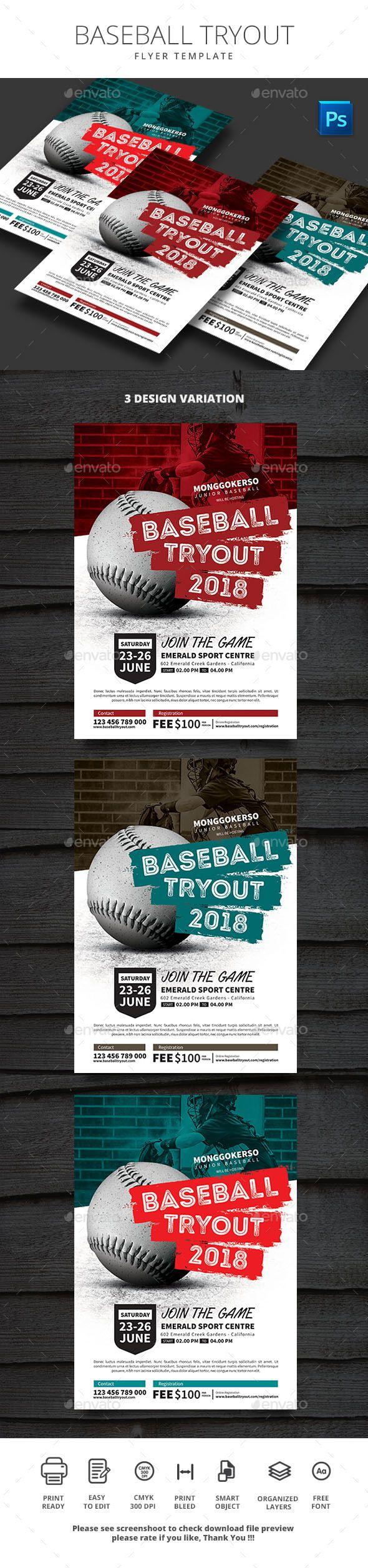baseball tryouts flyer template psd flyer templates pinterest
