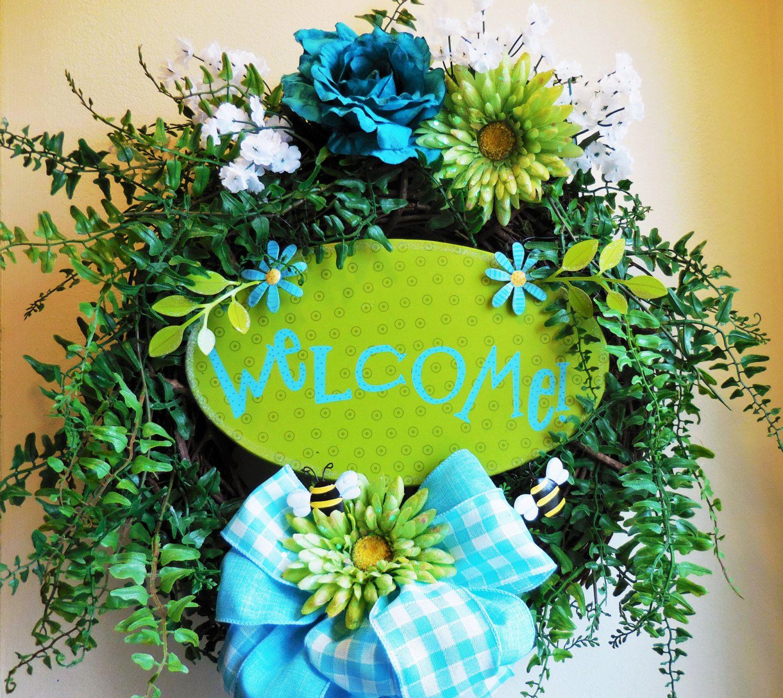 Spring wreath front door wreath summer wreath door hanger spring wreath front door wreath summer wreath door hanger welcome wreath by rubansaba