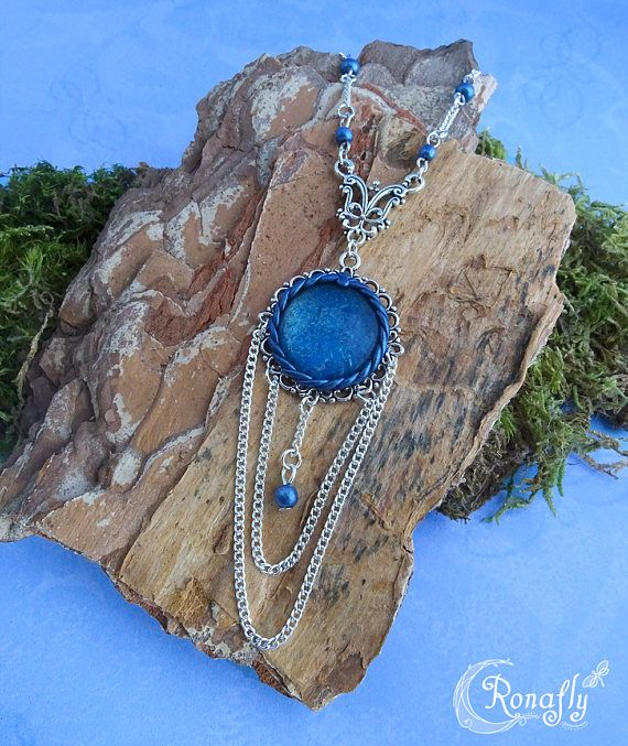 Blue elegance filigree pendant with beaded necklace, ornate connector,  and blue crystal cabochon. Made by Rowan Hogervorst - Ronafly