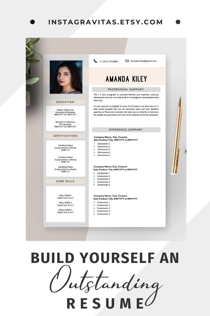 Cv template creative resume template instant download cv
