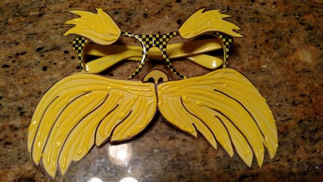 Lorax Mustache And Eyebrows Started With A Printed Template Added Puffy Paint Pair