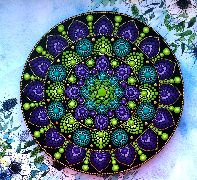 Wood Mandala Etsy Mandala Rock Art Mandala Painting Rock Painting Art