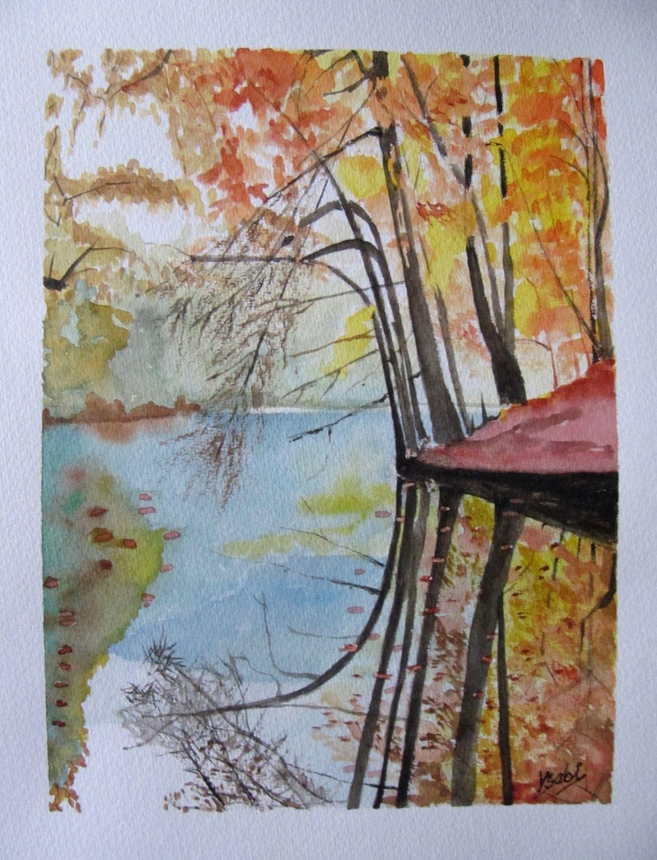 Peinture Aquarelle Reflets Dans L Eau Du Lac En Automne
