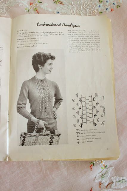 Mode De Lis 1950s Embroidered Sweater Tutorial Craft Ideas