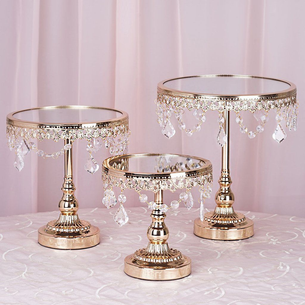 Set Of 3 Gold Round Wedding Cake Stand Centerpiece Risers With Mirror Top Tabletop Decoration Metal Cake Stand Cake Stand Centerpiece Mirror Tops