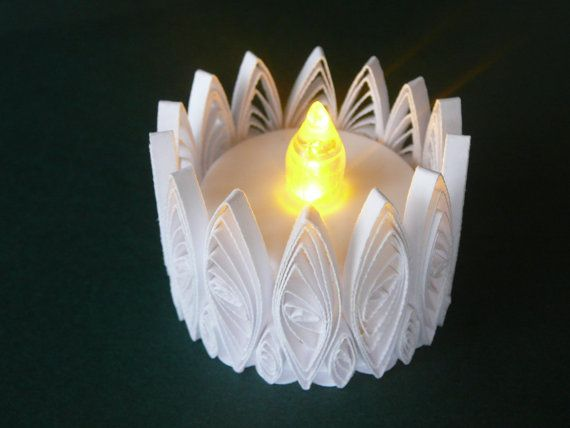 Paper quilled flickering flameless tea light candle in for Cardboard candle holders