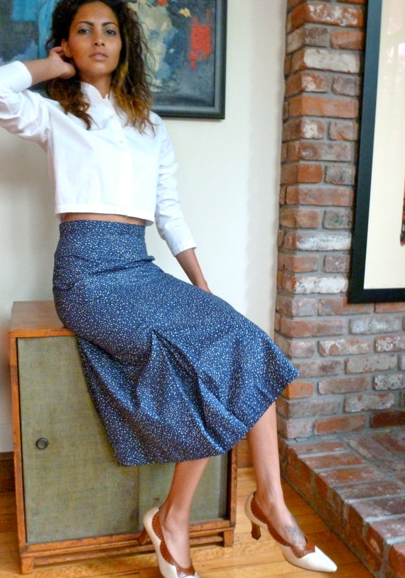b05cb5c6fc 1960s Vintage Navy Blue Polished Cotton Skirt w White Polka Dots A ...