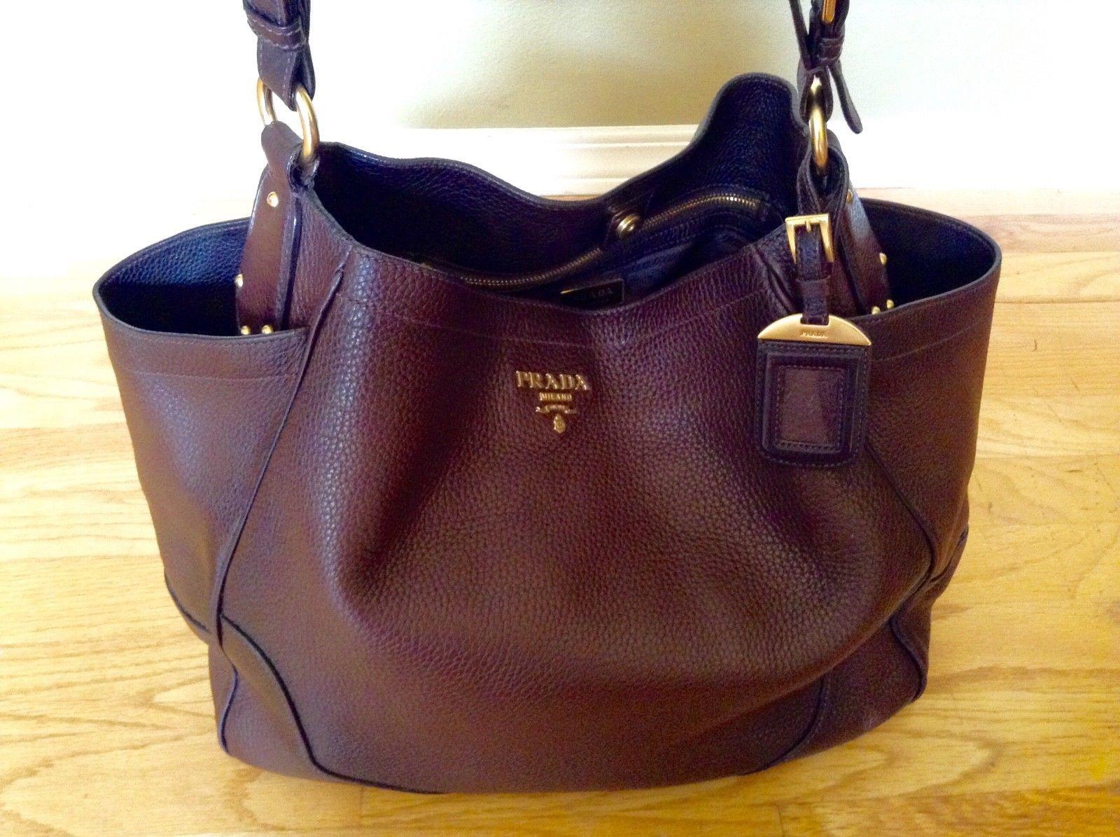 f3dea92a332b ... authentic auth prada gradient brown vitello daino pebble jumbo satchel tote  shoulder bag 745.0 0b9ef d8a7f ...