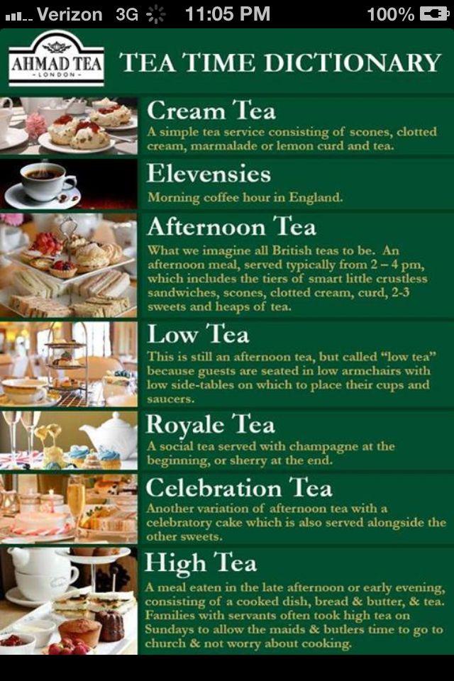 Tea Time Dictionary - Cream Tea, Elevensies, Afternoon Tea, Low Tea, Royale Tea, Celebration Tea, High Tea #cuppatea