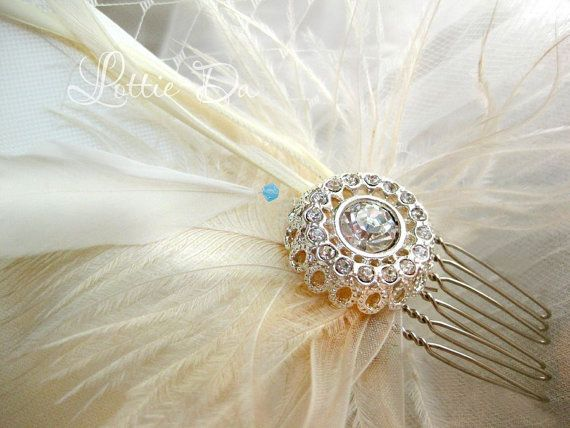 Feather Fascinator Rhinestone Bridal Hair Comb by LottieDaDesigns, $42.00