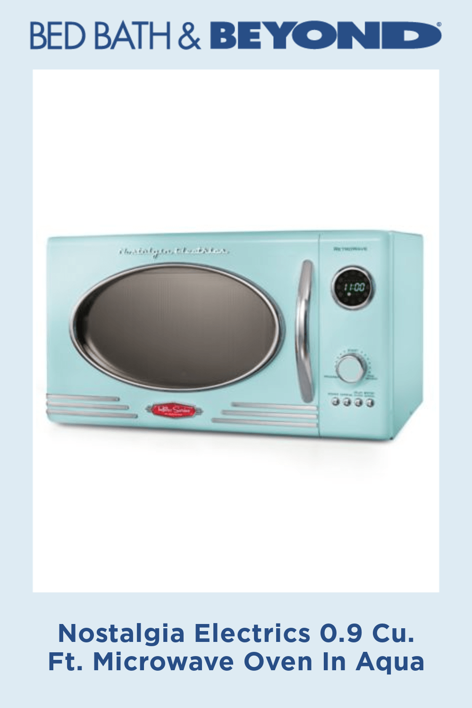 Nostalgia Electrics 0 9 Cu Ft Microwave Oven In Aqua With Images Countertop Microwave Countertop Microwave Oven Nostalgia Electrics
