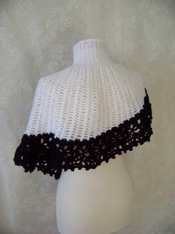 Black/white asymmetrical capelet, crochet pattern, PDF | Crochet ...