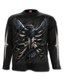 T Longues Et 'raven Manches Shirt Gothique Spiral Cage' gZwgFrq