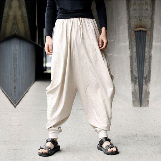 New Men Harem Japanese Pants Cotton Linen Trousers Hakama Loose Fit Casual