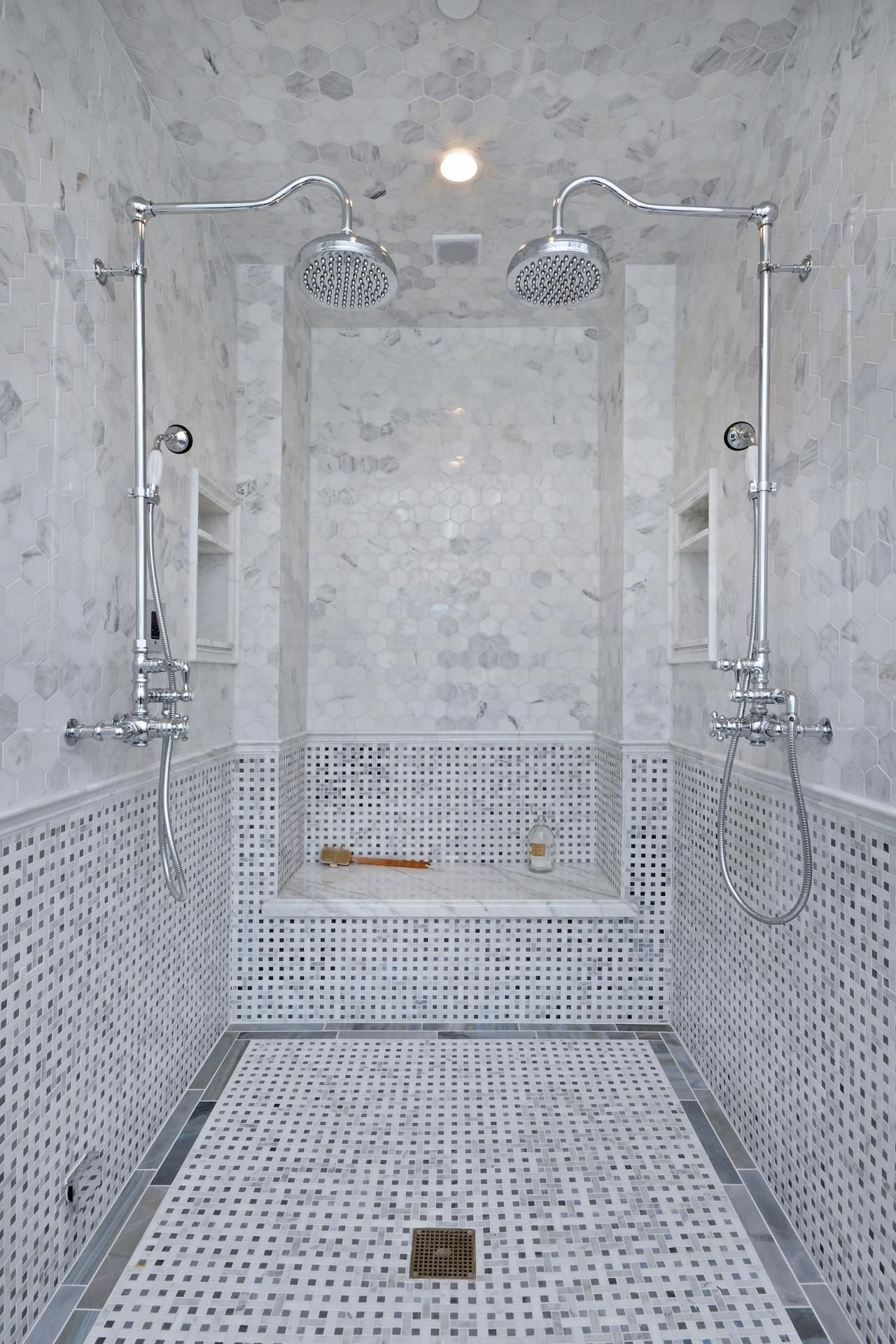 Astounding wall and flooring with cool basket weave tile ceramic bathroom ceiling lighting design ideas combine with basket weave tile flooring and stainless rain shower also basketweave tile backsplash using for modern dailygadgetfo Image collections