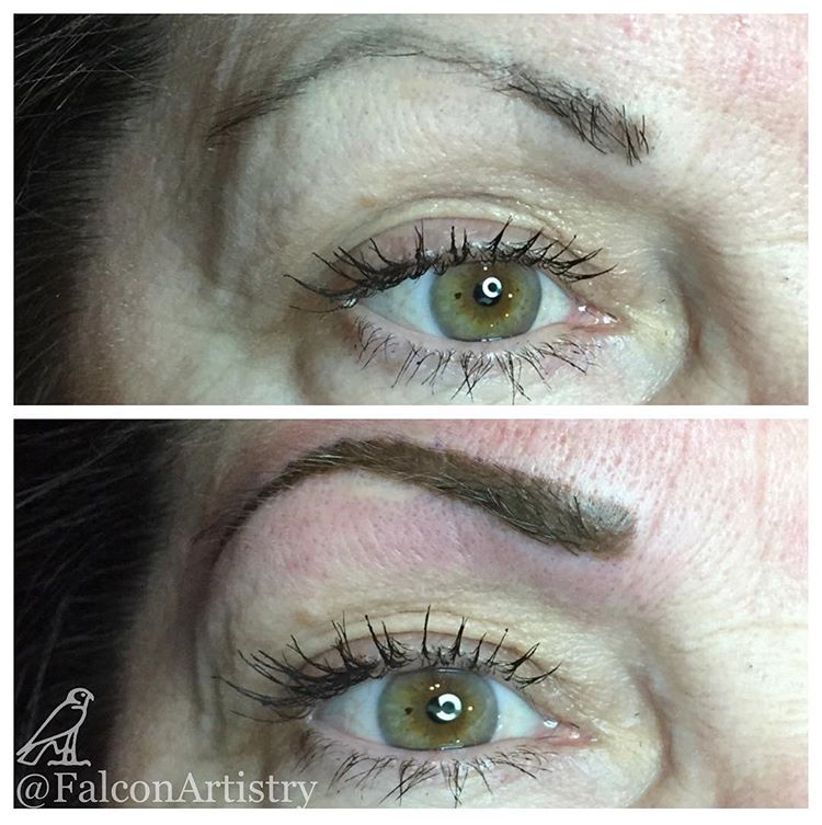 Brow tattoo correction by Falcon Artistry over existing microblading ...
