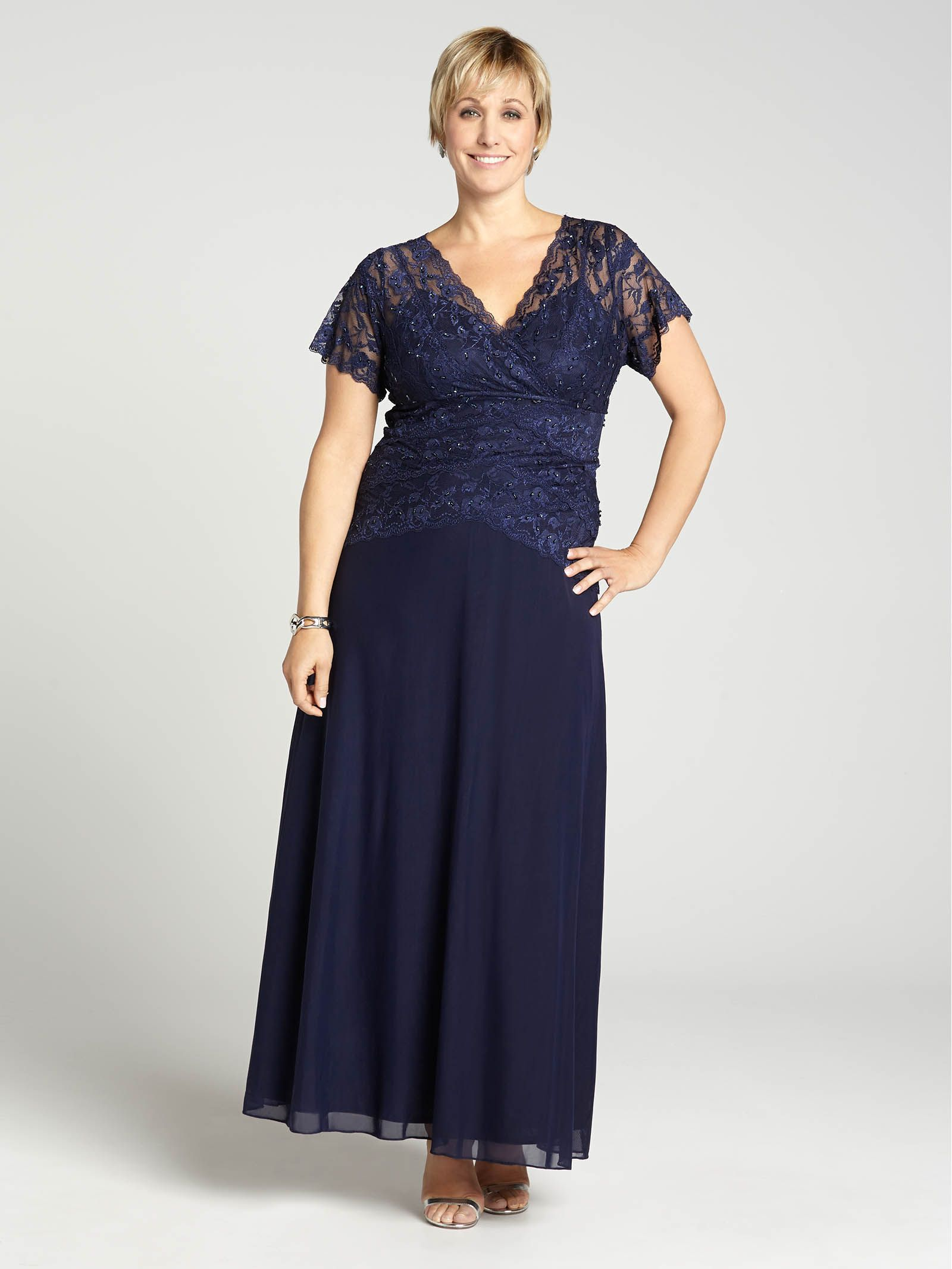 Laura plus lace u sequin bodice flare skirt gown navy