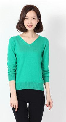 Spring New soft Cashmere Sweaters Female Slim V collar knit Long sleeve pullover knit shirt Sweaters Wool Bottoming Sweater