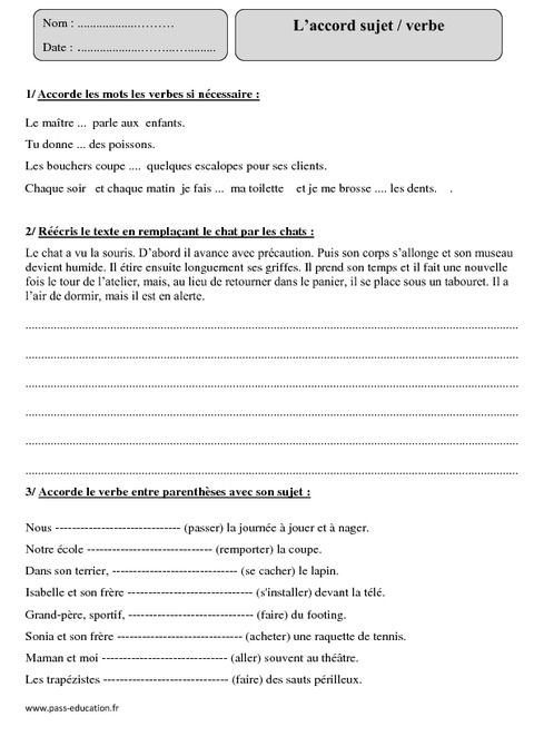 Accord sujet verbe - Cm1 - Exercices corrigés - Pass ...