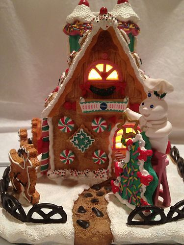 Details About Pillsbury Doughboy Lighted Christmas Cottage 1998 By
