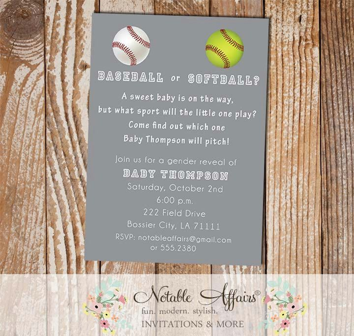 baseball or softball baby shower gender reveal by notableaffairs, Party invitations
