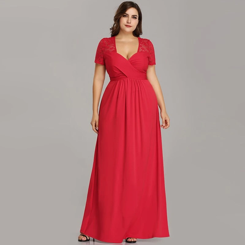 A Line V Neck Long Plus Size Evening Dresses With Sleeve ...