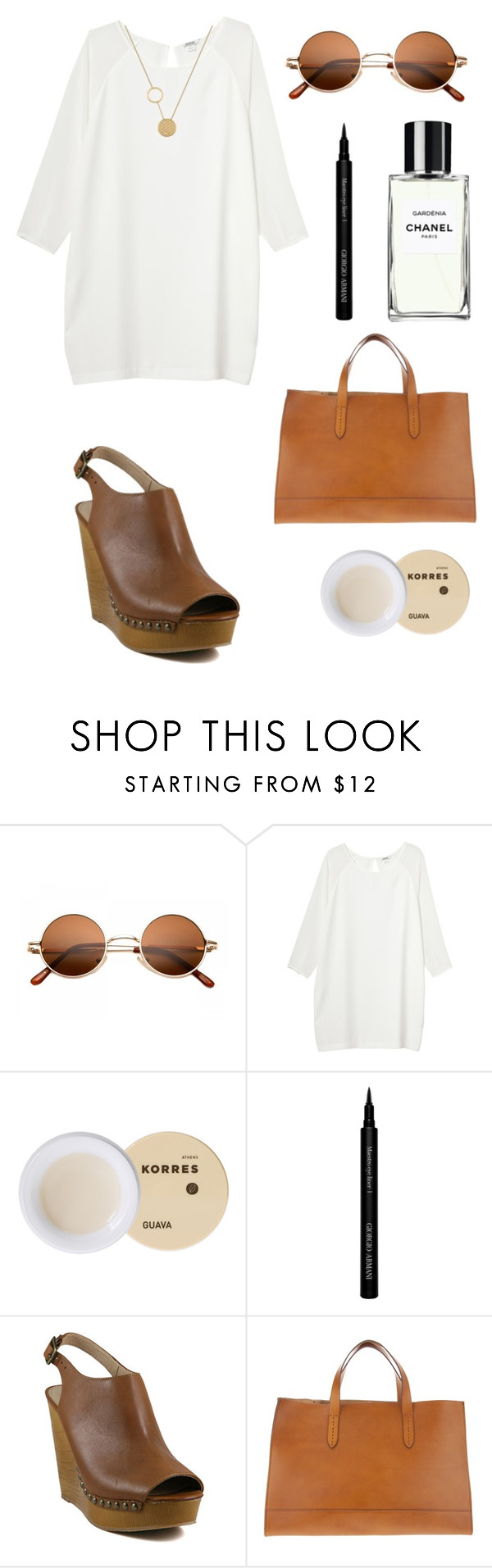 """tan"" by isobellily ❤ liked on Polyvore featuring Monki, Korres, Chanel, Giorgio Armani, Steve Madden, Ralph Lauren, Lacoste, women's clothing, women's fashion and women"