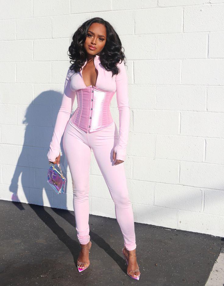 Amare Jumpsuit W/ Corset - Pink — Pink Plastic