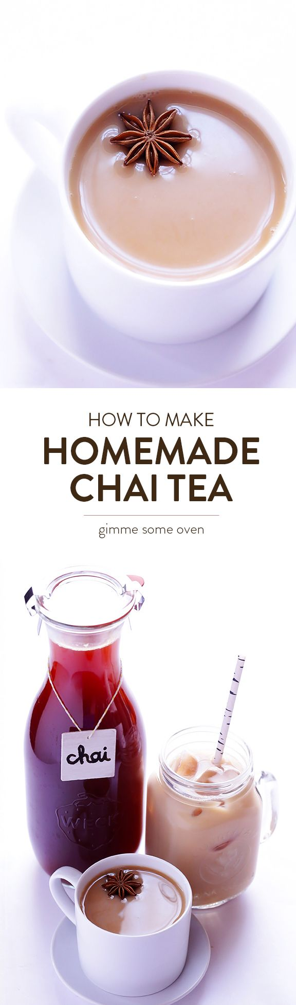 This Homemade Chai Tea recipe is easy to make, and is perfect for hot chai or iced chai.   gimmesomeoven.com