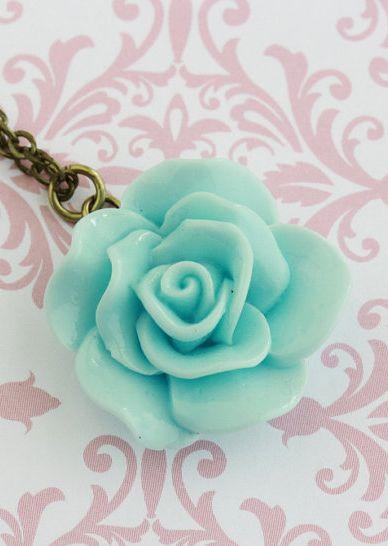 Aqua Blue Flower Necklace