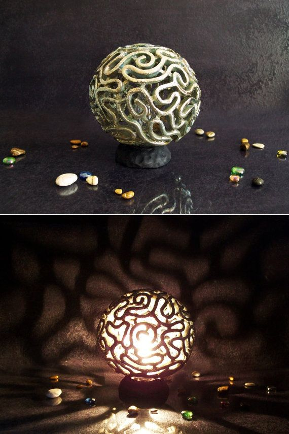 Raku pottery swirled brain coral lamp coastal bedside - What size table lamp for living room ...
