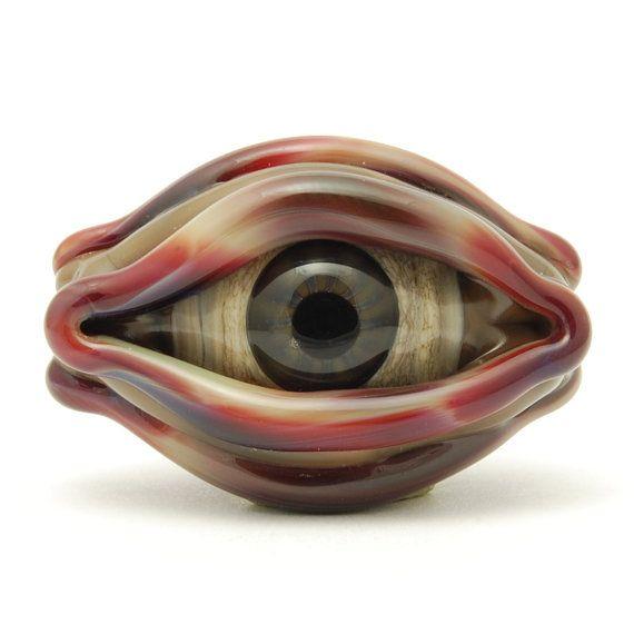 Evil Eyes Lampwork Glass Bead, Handmade Jewelry Supplies, Craft Supplies, OOAK, SRA