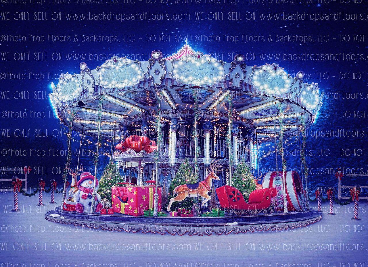 Christmas Carousel Recreation 2020 Christmas Carousel Carnival Photography Backdrop Merry Go | Etsy