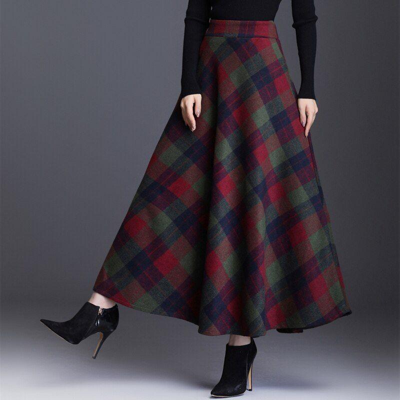 Plaid Elastic Waist Long Woolen Skirt